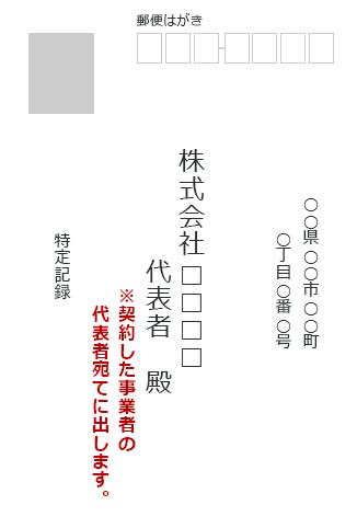 販売会社宛の表書き例